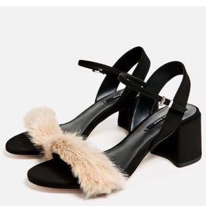 NWT Zara low block heel faux fur sandal